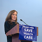 """Westbury, New York, USA. January 15, 2017. Representative KATHLEEN RICE (Democrat - 4th Congressional District) is speaking at the """"Our First Stand"""" Rally against Republicans repealing the Affordable Care Act, ACA, taking millions of people off health insurance, making massive cuts to Medicaid, and defunding Planned Parenthood. Hosts were Reps. T. Suozzi (Dem. - 3rd Congress. Dist.) and Rice. It was one of dozens of nationwide Bernie Sanders' rallies for health care that Sunday."""