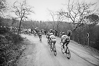on the hill of the 3rd gravel sector riders are already dropping out the back of the peloton<br /> <br /> 11th Strade Bianche 2017