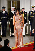 First Lady Michelle Obama welcomes Prime Minister of Italy Matteo Renzi and Mrs. Agnese Landini at the North Portico  of the White House on October 18, 2016 in Washington, DC. <br /> Credit: Olivier Douliery / Pool via CNP