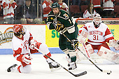Max Nicastro (BU - 7), Drew MacKenzie (Vermont - 2) - The visiting University of Vermont Catamounts tied the Boston University Terriers 3-3 in the opening game of their weekend series at Agganis Arena in Boston, Massachusetts, on Friday, February 25, 2011.