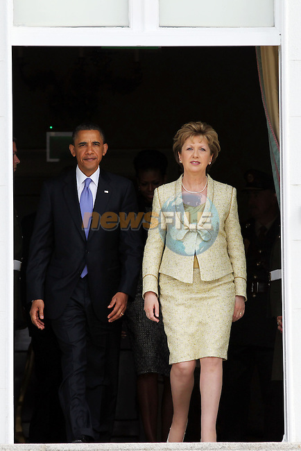 23-5-11....... Photo shows President Barack Obama and President of Ireland Mary McAleese at Aras an Uachtarain during President Obama's visit to Ireland..Picture: Maxwells/ www.newsfile.ie (POOL).