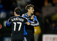 Chris Wondolowski of Earthquakes celebrates with Joey Gjertsen of Earthquakes after Wondolowski scored a goal during the second half of the game against Red Bull at Buck Shaw Stadium in Santa Clara, California.  San Jose Earthquakes defeated New York Red Bulls, 4-0.