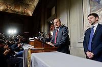 Roma, 21 Marzo 2013.Quirinale.Secondo giorno di  consultazioni con il Presidente della Repubblica per la formazione del nuovo Governo..La delegazione del Partito Democratico con Pier Luigi Bersani e Roberto Speranza