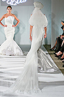 Model walks the runway in a Beth Elis Lightning wedding dress by Nere Emiko during the Wedding Trendspot Spring 2011 Press Fashion, October 17, 2010.