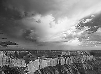 749220046bw magnificent clouds from a clearing storm hover over wotons throne and cape royal in this black and white rendering of the view from cape royal on the north rim of the grand canyon in arizona