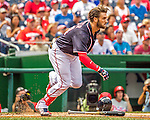 11 September 2016: Washington Nationals outfielder Bryce Harper loses his helmet in action against the Philadelphia Phillies at Nationals Park in Washington, DC. The Nationals edged out the Phillies 3-2 to take the rubber match of their 3-game series. Mandatory Credit: Ed Wolfstein Photo *** RAW (NEF) Image File Available ***
