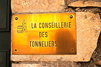 coopers' association brass sign beaune cote de beaune burgundy france