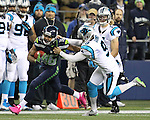 Seattle Seahawks wide receiver Tyler Lockett (16) is run down after by Carolina Panthers kicker Graham Gano (9) during a 46-yard kickoff return at CenturyLink Field in Seattle, Washington on December 4, 2016.  Seahawks beat the Panthers 40-7. ©2016. Jim Bryant photo. All Rights Reserved.