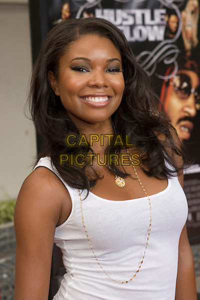 """GABRIELLE UNION.At the """"Hustle & Flow"""" Los Angeles Film Premiere,.held at the Arclight Cinerama Dome, .Hollywood, California, USA, 20th July 2005..half length white vest top gold necklace.Ref: ADM.www.capitalpictures.com.sales@capitalpictures.com.©Zach Lipp/AdMedia/Capital Pictures."""