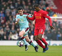Burnley's Joey Barton vies for possession with Liverpool's Georginio Wijnaldum<br /> <br /> Photographer Rich Linley/CameraSport<br /> <br /> The Premier League - Liverpool v Burnley - Sunday 12 March 2017 - Anfield - Liverpool<br /> <br /> World Copyright &copy; 2017 CameraSport. All rights reserved. 43 Linden Ave. Countesthorpe. Leicester. England. LE8 5PG - Tel: +44 (0) 116 277 4147 - admin@camerasport.com - www.camerasport.com