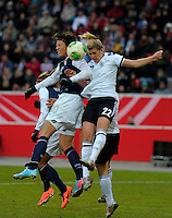 Offenbach, Germany, Friday, April 05 2013: Womans, Germany vs. USA, in the Stadium in Offenbach,   Abby Wambach (USA) Luisa Wensing (GER)..