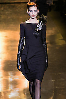 Emily Senko walks runway in an outfit from the Badgley Mischka Fall 2011 fashion show, during Mercedes-Benz Fashion Week Fall 2011.