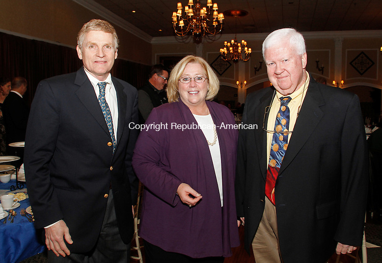 Plantsville, CT-15 November111512MK43 (from left) Dick Fairbrother, Lynn Smith, Tom McGuire gathered at the Connecticut High School Association Hall of Fame induction ceremony at the Aqua Turf in Southington recently. Michael Kabelka /Republican-American