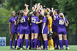 14 September 2014: LSU players huddle before the game. The Duke University Blue Devils hosted the Louisiana State University Tigers at Koskinen Stadium in Durham, North Carolina in a 2014 NCAA Division I Women's Soccer match. Duke won the game 1-0.