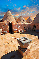 "Pictures of the beehive adobe buildings of Harran, south west Anatolia, Turkey.  Harran was a major ancient city in Upper Mesopotamia whose site is near the modern village of Altınbaşak, Turkey, 24 miles (44 kilometers) southeast of Şanlıurfa. The location is in a district of Şanlıurfa Province that is also named ""Harran"". Harran is famous for its traditional 'beehive' adobe houses, constructed entirely without wood. The design of these makes them cool inside. 25"