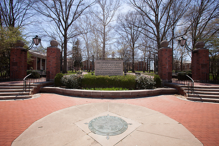 The Class Gateway is marked by The Great Seal of the State of Ohio and offers an entrance into the College Green area of Ohio University's campus.  Photo by Ohio University / Jonathan Adams