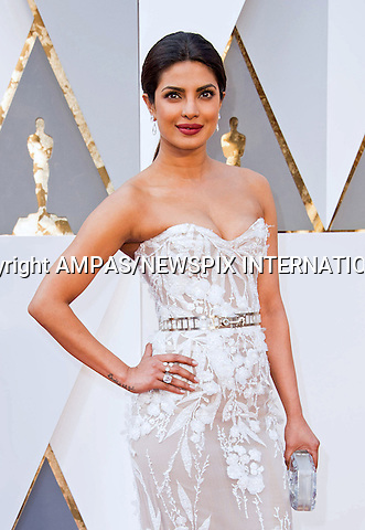 28.02.2016; Hollywood, California: 88th OSCARS - PRIYANKA CHOPRA<br /> attend the 88th Annual Academy Awards at the Dolby Theatre&reg; at Hollywood &amp; Highland Center&reg;, Los Angeles.<br /> Mandatory Photo Credit: &copy;Ampas/Newspix International<br /> <br /> PHOTO CREDIT MANDATORY!!: NEWSPIX INTERNATIONAL(Failure to credit will incur a surcharge of 100% of reproduction fees)<br /> <br /> IMMEDIATE CONFIRMATION OF USAGE REQUIRED:<br /> Newspix International, 31 Chinnery Hill, Bishop's Stortford, ENGLAND CM23 3PS<br /> Tel:+441279 324672  ; Fax: +441279656877<br /> Mobile:  0777568 1153<br /> e-mail: info@newspixinternational.co.uk<br /> All Fees To: Newspix International