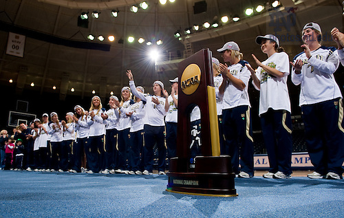 Dec. 5, 2010; The Women's Soccer team salutes the crowd during a welcome home rally at the Purcell Pavilion.  Earlier in the day they beat Stanford 1-0 to win the 2010 National Championship...Photo by Matt Cashore/University of Notre Dame