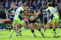 Henry Thomas of Bath Rugby takes on the Sale Sharks defence. Aviva Premiership match, between Bath Rugby and Sale Sharks on April 23, 2016 at the Recreation Ground in Bath, England. Photo by: Patrick Khachfe / Onside Images