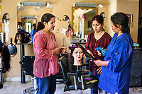 Afghanistan, Kabul. Women at Hairdressing School