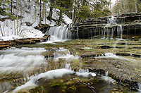An early spring view of the cascading AuTrain Falls. AuTrain, MI