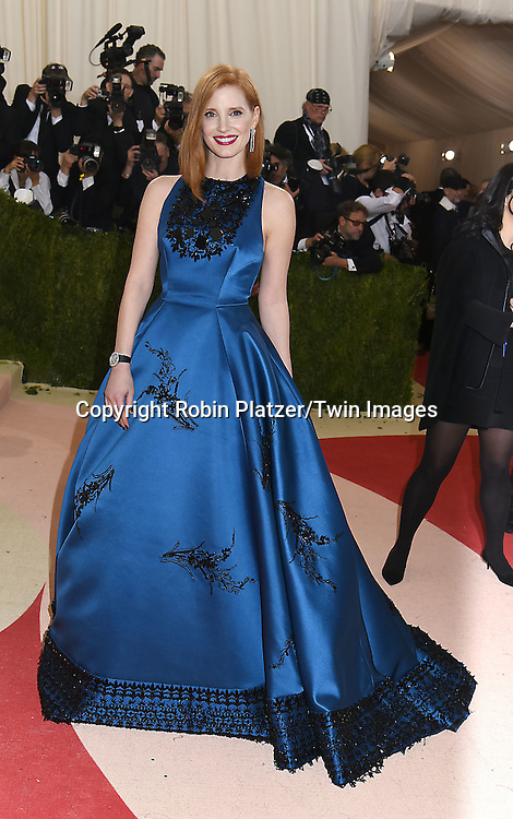 Jessica Chastain in Prada attends the Metropolitan Museum of Art Costume Institute Benefit Gala on May 2, 2016 in New York, New York, USA. The show is Manus x Machina: Fashion in an Age of Technology. <br /> <br /> photo by Robin Platzer/Twin Images<br />  <br /> phone number 212-935-0770