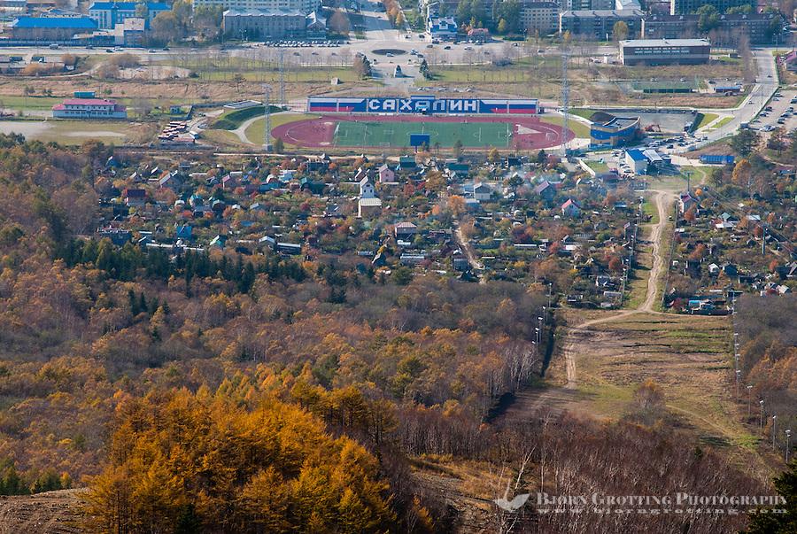 Russia, Sakhalin, Yuzhno-Sakhalinsk. View from top of the Gorny Vozdukh Ski center.