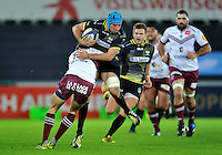 Justin Tipuric of the Ospreys takes on the Bordeaux Begles defence. European Rugby Champions Cup match, between the Ospreys and Bordeaux Begles on December 12, 2015 at the Liberty Stadium in Swansea, Wales. Photo by: Patrick Khachfe / JMP