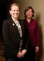 UWRF McNair Scholar, April Huseby,<br /> Biology, Biomedical, College of Arts and Sciences, left, with faculty mentor Karen Klyczek.