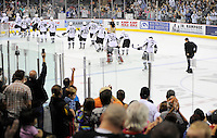San Antonio Rampage fans stand to applaud the team as they leave the ice for the last time in the 2011-2012 season. San Antonio lost to the Oklahoma City Barons 4-3 to be eliminated from the AHL playoffs, Friday, May 11, 2012, in San Antonio. (Darren Abate/pressphotointl.com)
