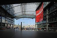 Inside the concourse of Berlin Hauptbahnhof, the main train station in Berlin, Berlin, Germany. Picture by Manuel Cohen