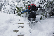 Hikers ascending a snow covered trail ladder along the Willey Range Trail in the White Mountains of New Hampshire during the winter months.