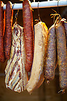 Hungarian Mangalicsa (Mangalitsa) Salamis and Kolbász pig meat ptoducts. Food photos.