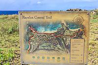 A sign with a map of the Kapalua Coastal Trail, Maui.