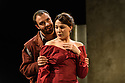 London, UK. 26.04.17 Troupe presents THE CARDINAL, by James Shirley, directed by Justin Audibert, at Southwark Playhouse. Picture shows: Jay Saighal (Columbo), Rosie Wyatt (Celinda). Photograph © Jane Hobson.