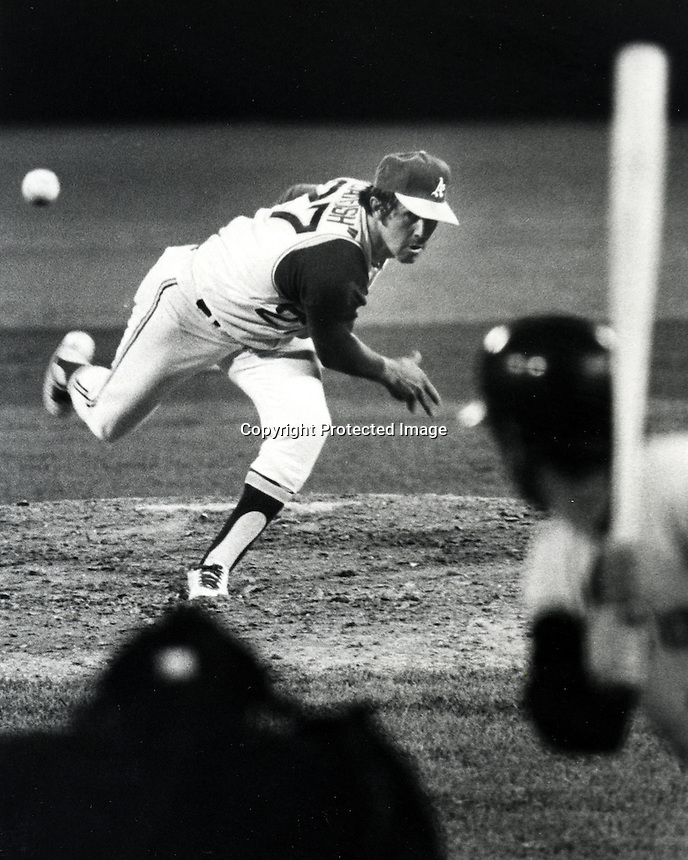 "Jim ""Catfish"" Hunter delivers a pitch. (copyright.1972 Ron Riesterer)"