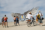 Aug. 29 2008 - Black Rock City, Nevada, USA - Festival goers explore a large art installation on the playa Friday, Aug. 29, 2008 during the Burning Man arts and culture festival in Black Rock City in the Black Rock Desert near Gerlach, Nev. (Credit Image: © David Calvert/ZUMA Press)