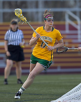 University of Vermont attacker Sydney Mas (17) circles behind the net. Boston College defeated University of Vermont, 15-9, at Newton Campus Field, April 4, 2012.