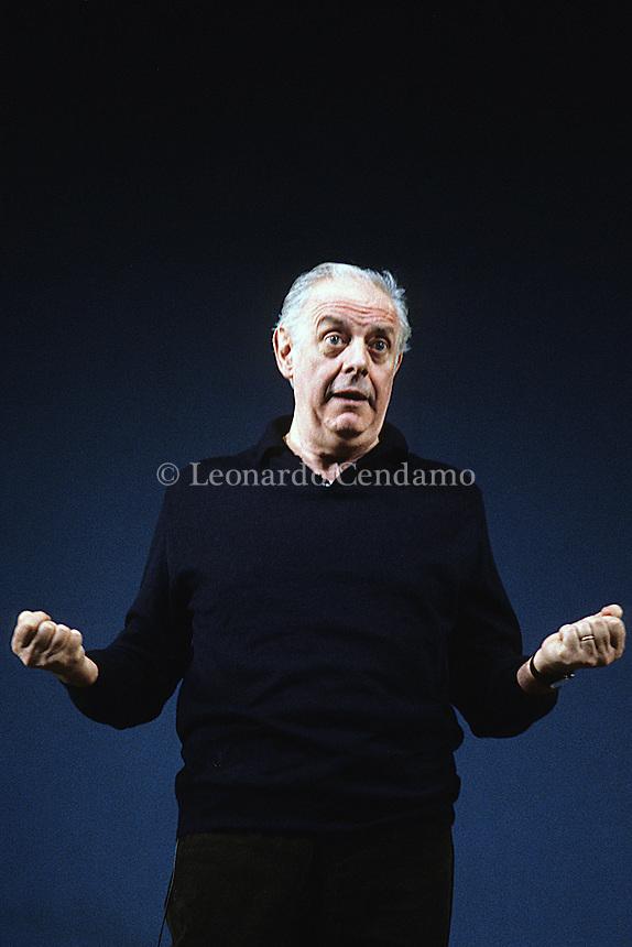Milano, Italy, Dario Fo, attore, scrittore, commediografo, in trasmissione televisiva, ( Mistero buffo ).  © Leonardo Cendamo
