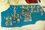 Arthur Evans reconstruction of Dancing girls fresco  at Knossos. Knossos Minoan archaeological site, Crete