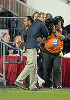 03 June 2012: US Men's National Soccer Team forward Landon Donovan #10 comes of the pitch as US Men's National Soccer Team coach Jurgen Klinsmann embraces his player during an international friendly  match between the United States Men's National Soccer Team and the Canadian Men's National Soccer Team at BMO Field in Toronto..The game ended in 0-0 draw...