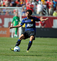 Manchester United defender Fabio da Silva (20) passes the ball.  Manchester United defeated the Chicago Fire 3-1 at Soldier Field in Chicago, IL on July 23, 2011.