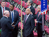 United States Secretary of Homeland Security Jeh Johnson tours the Quicken Loans Arena to observe the build-out prior to the 2016 Republican National Convention in Cleveland, Ohio on Friday, July 15, 2016.<br /> Credit: Ron Sachs / CNP<br /> (RESTRICTION: NO New York or New Jersey Newspapers or newspapers within a 75 mile radius of New York City)
