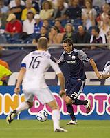 New England Revolution midfielder Marko Perovic (29) dribbles. The New England Revolution defeated LA Galaxy, 2-0, at Gillette Stadium on July 10, 2010.