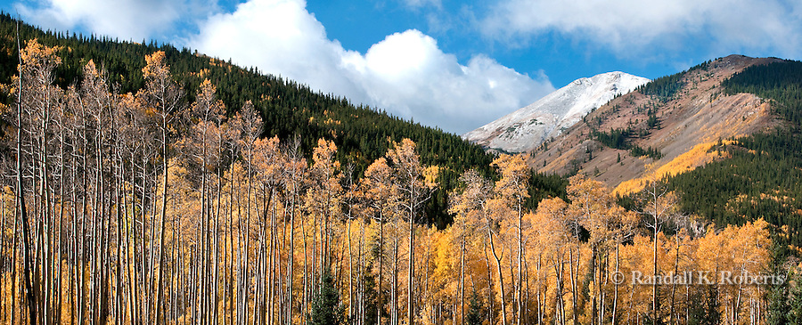 Clouds swirl around Mt. Princeton in the Sawatch Range of Colorado on an autumn morning, surrounded by golden aspens.