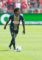 15 September 2012: Philadelphia Union defender Sheanon Williams #25 in action during an MLS game between the Philadelphia Union and Toronto FC at BMO Field in Toronto, Ontario..The game ended in a 1-1 draw..