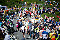 Blel Kadri (FRA/Ag2r-La Mondiale) is leading the race up Holme Moss Hill (521m/4.7km/7%) and is sheered on by thousands of enthusiastic british fans<br /> <br /> 2014 Tour de France<br /> stage 2: York-Sheffield (201km)