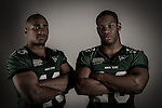 DENTON TX - MAY 6, 2005: Jamario Thomas #20 and Patrick Cobbs #34 running backs for North Texas Mean Green Football.