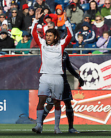 New England Revolution forward Juan Toja (7) frustrated by non-call.  In a Major League Soccer (MLS) match, Sporting Kansas City (blue) tied the New England Revolution (white), 0-0, at Gillette Stadium on March 23, 2013.
