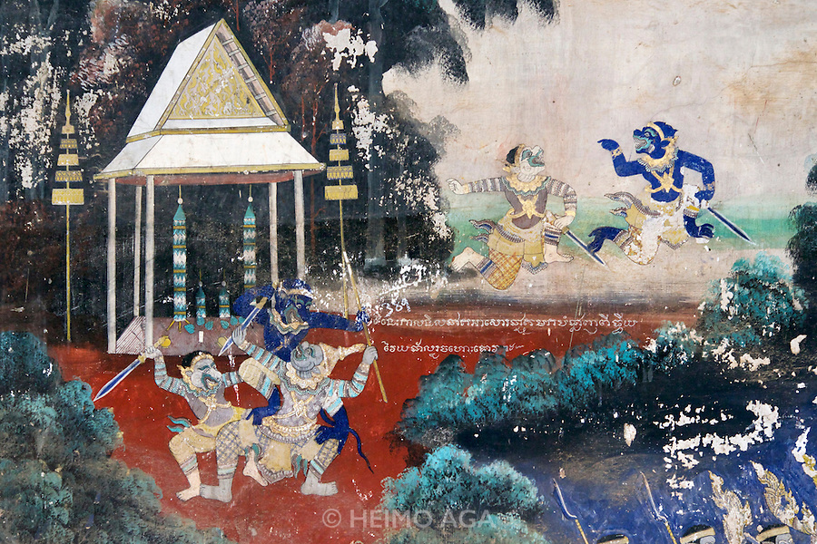 Phnom Penh, Cambodia. Royal Palace. Silver Pagoda Compound. Reamker (Ramayana) frescoes on the surrounding wall.